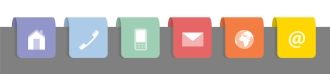 Six labels with contact symbols in rainbow colors, vector illustration, flat style